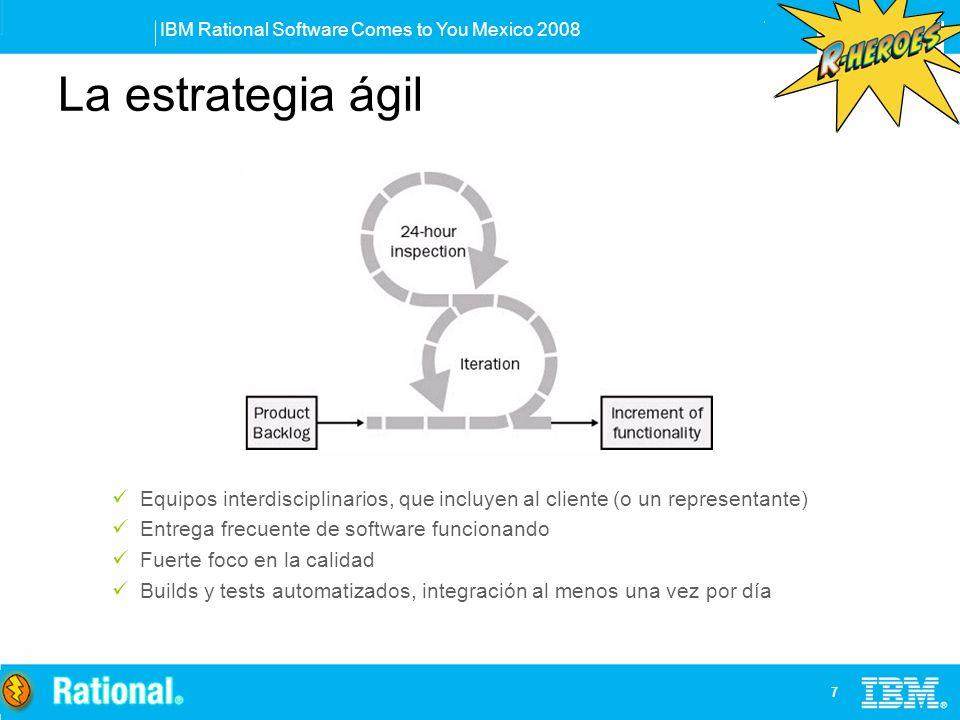 La estrategia ágil Equipos interdisciplinarios, que incluyen al cliente (o un representante) Entrega frecuente de software funcionando.