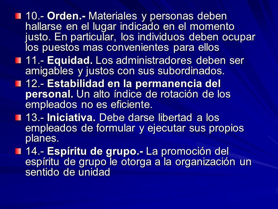 10.- Orden.- Materiales y personas deben hallarse en el lugar indicado en el momento justo. En particular, los individuos deben ocupar los puestos mas convenientes para ellos