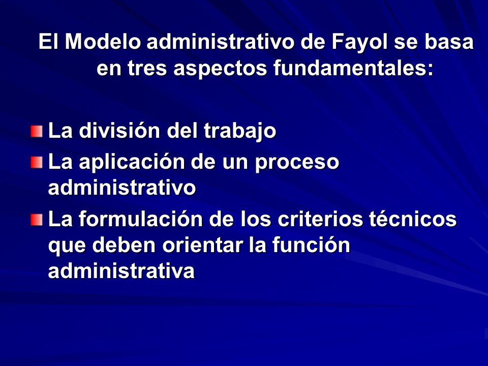El Modelo administrativo de Fayol se basa en tres aspectos fundamentales:
