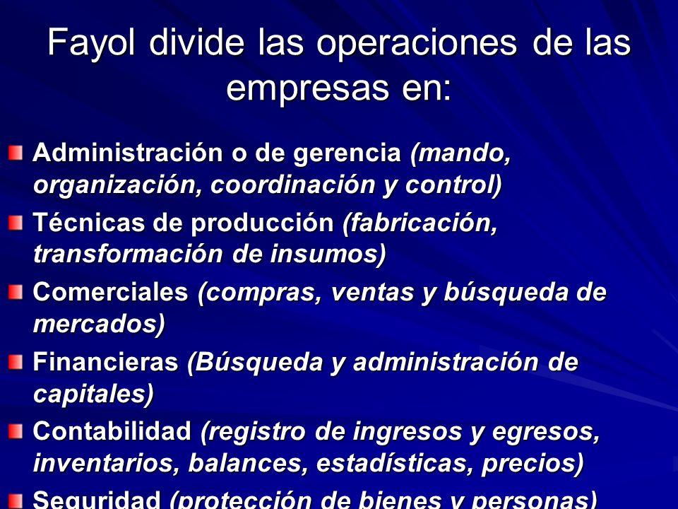 Fayol divide las operaciones de las empresas en: