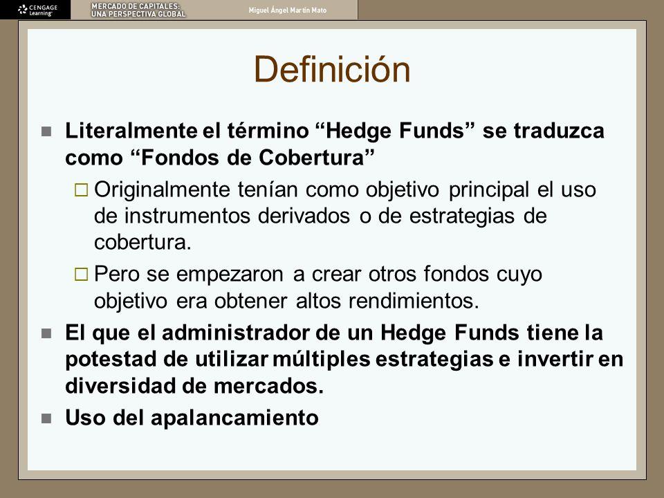 Definición Literalmente el término Hedge Funds se traduzca como Fondos de Cobertura