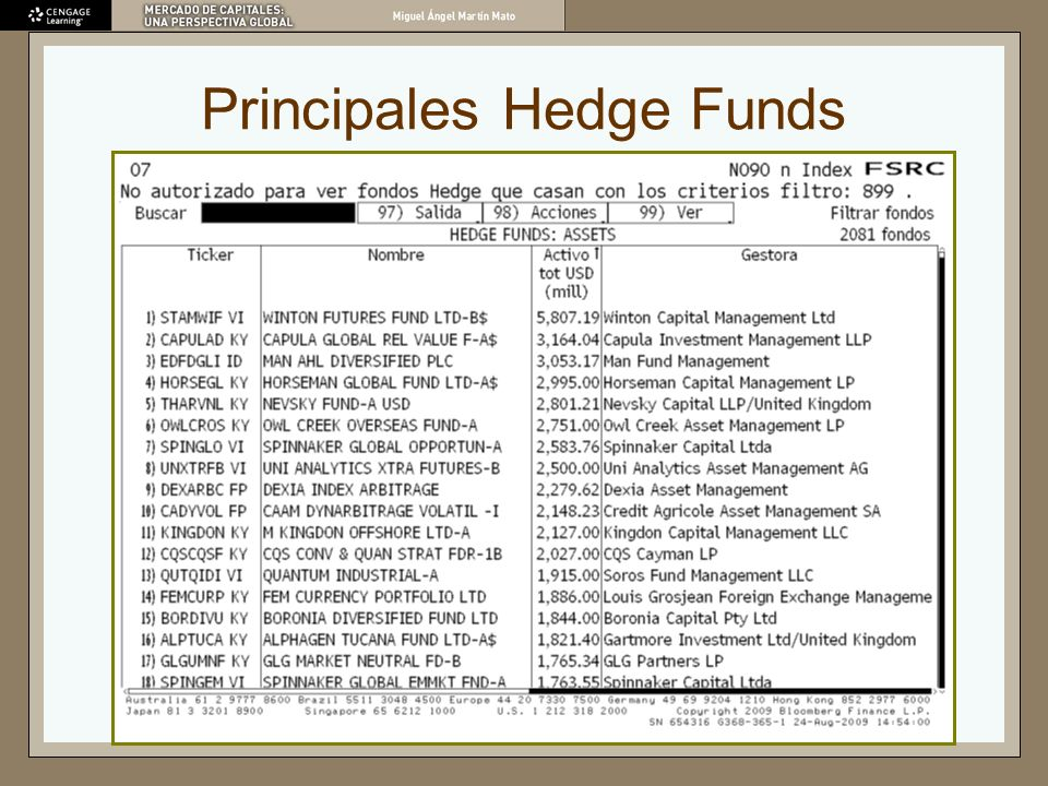 Principales Hedge Funds
