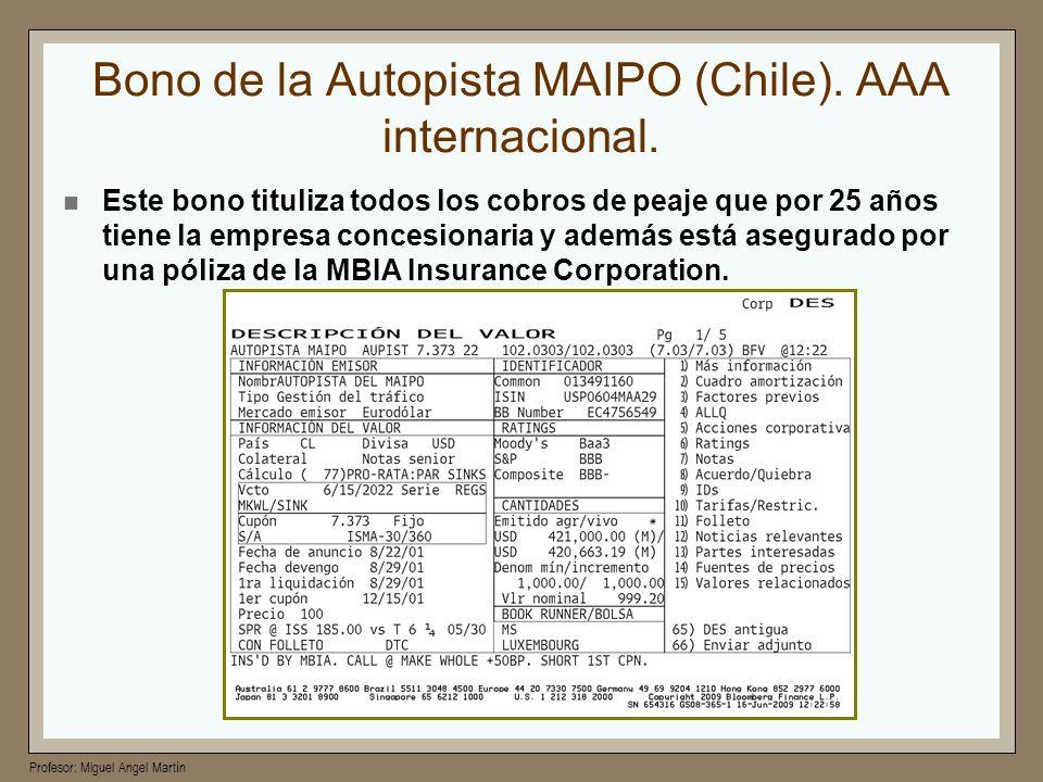 Bono de la Autopista MAIPO (Chile). AAA internacional.
