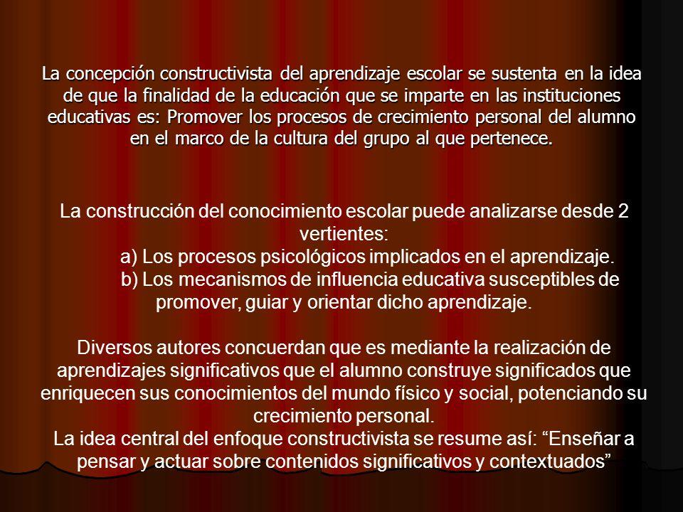 a) Los procesos psicológicos implicados en el aprendizaje.