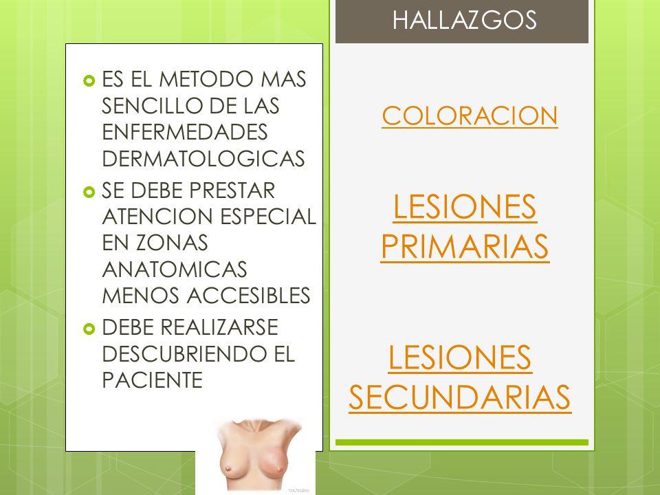 LESIONES PRIMARIAS LESIONES SECUNDARIAS HALLAZGOS COLORACION