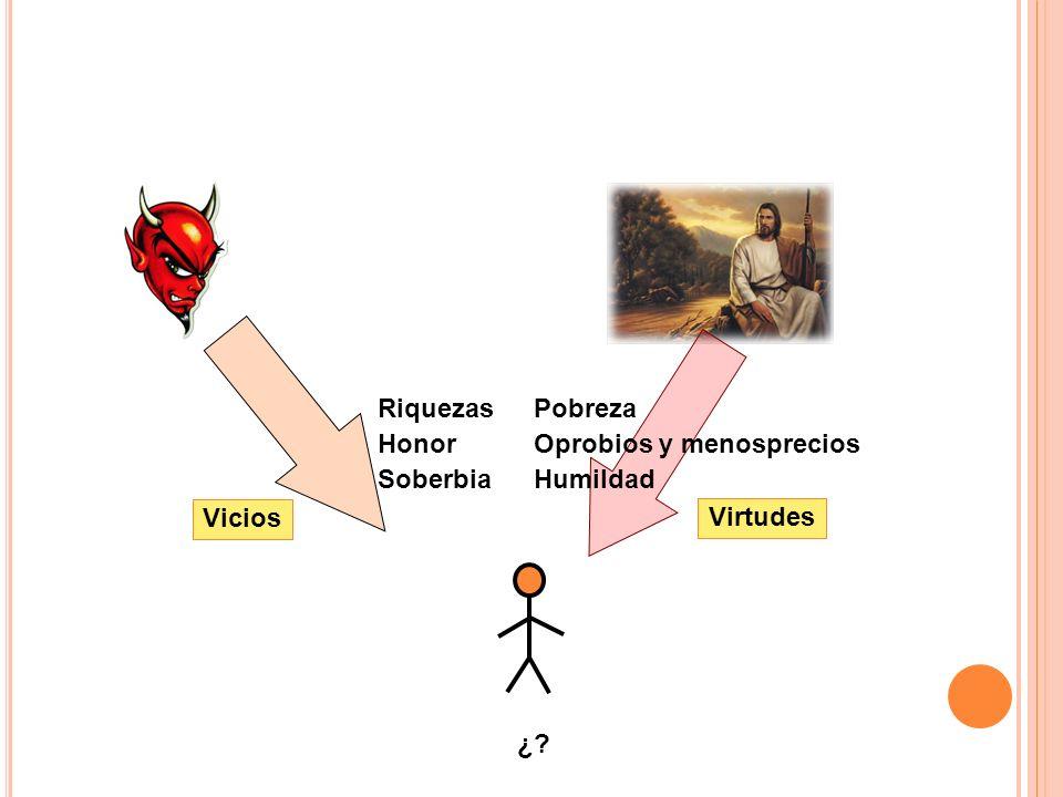 Riquezas Honor Soberbia Pobreza Oprobios y menosprecios Humildad Vicios Virtudes ¿