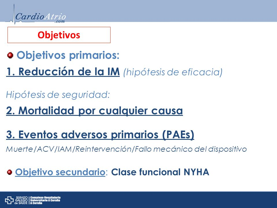 1. Reducción de la IM (hipótesis de eficacia)