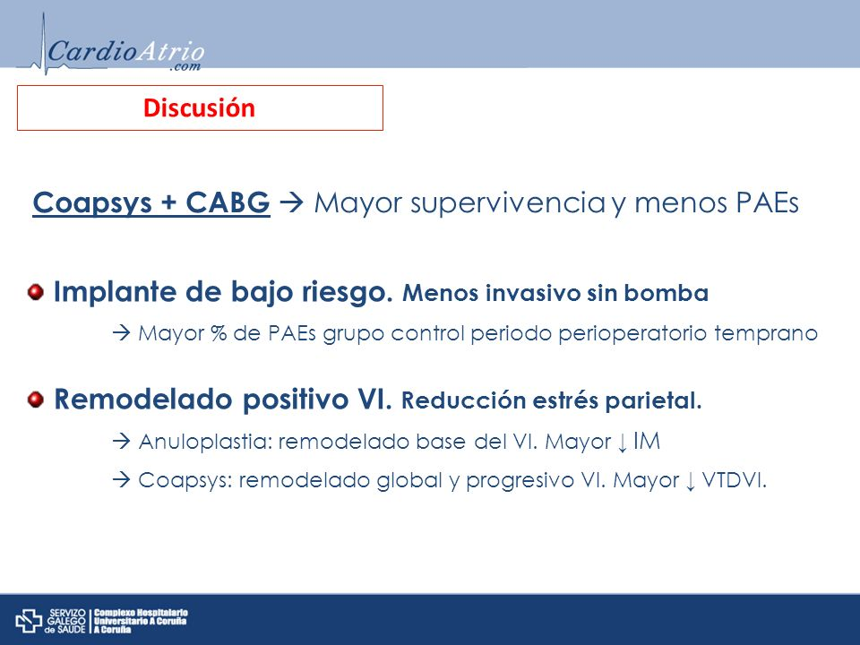 Coapsys + CABG  Mayor supervivencia y menos PAEs
