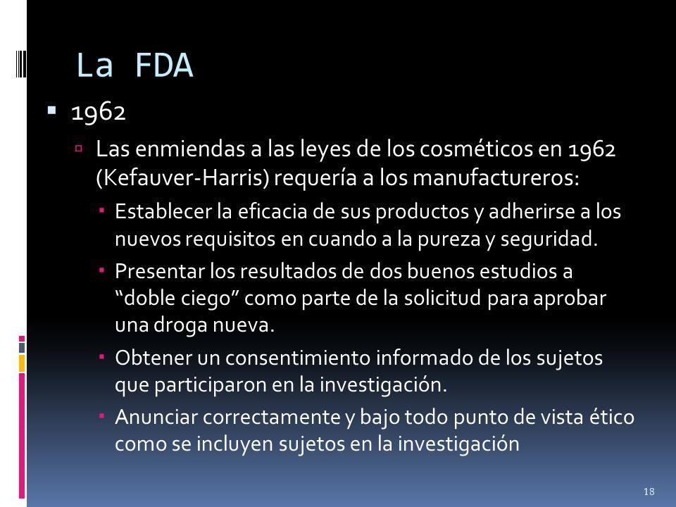 La FDA1962. Las enmiendas a las leyes de los cosméticos en 1962 (Kefauver-Harris) requería a los manufactureros: