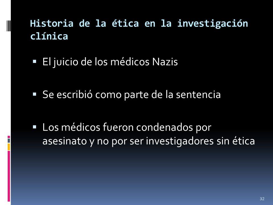 Historia de la ética en la investigación clínica