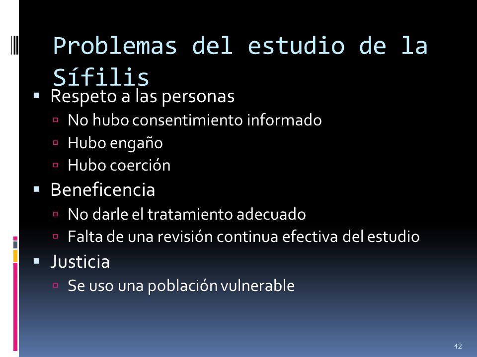 Problemas del estudio de la Sífilis