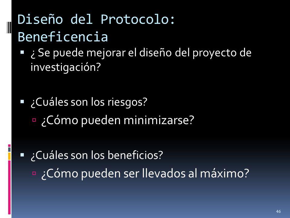 Diseño del Protocolo: Beneficencia