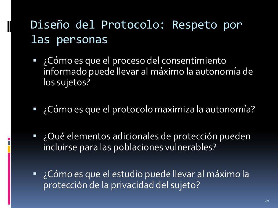 Diseño del Protocolo: Respeto por las personas