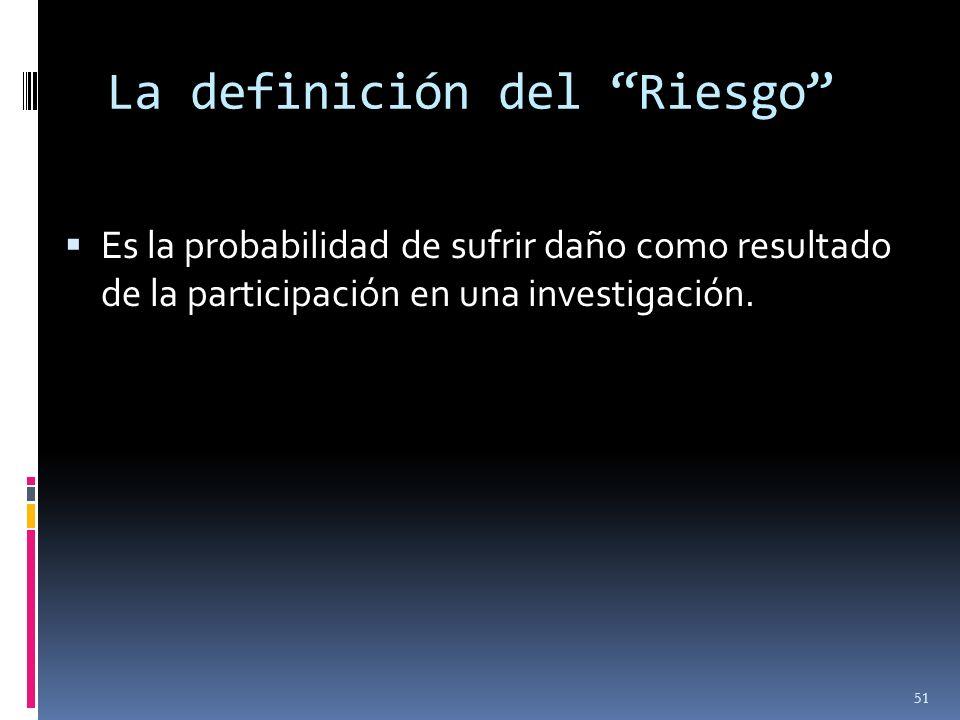 La definición del Riesgo