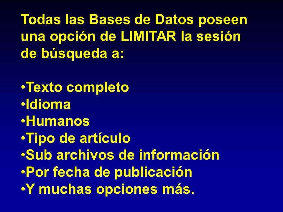 Todas las Bases de Datos poseen una opción de LIMITAR la sesión de búsqueda a:
