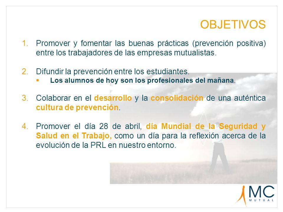 OBJETIVOS Promover y fomentar las buenas prácticas (prevención positiva) entre los trabajadores de las empresas mutualistas.