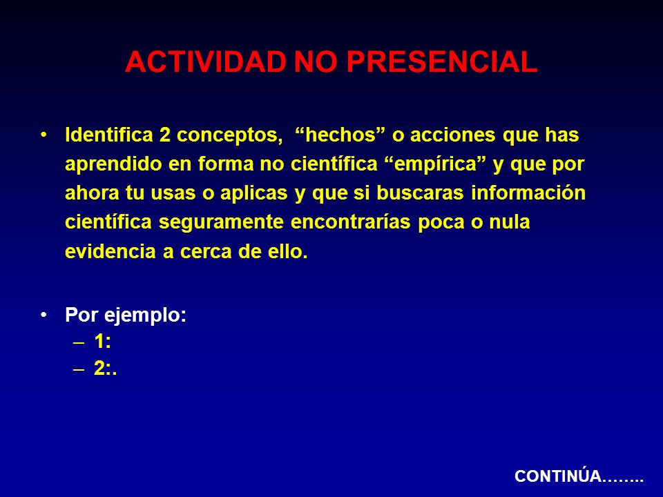 ACTIVIDAD NO PRESENCIAL