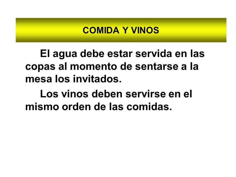 Los vinos deben servirse en el mismo orden de las comidas.