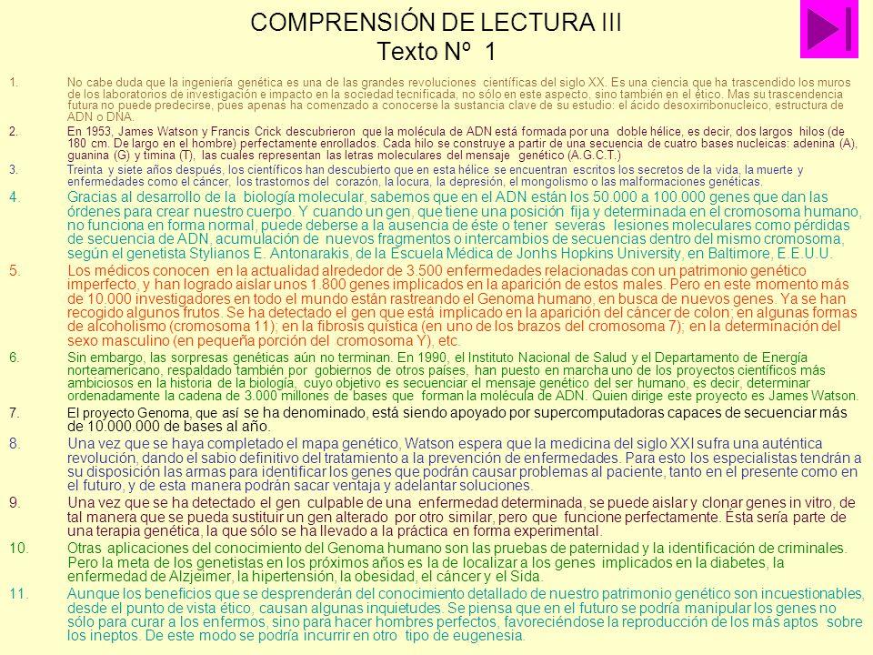 COMPRENSIÓN DE LECTURA III Texto Nº 1