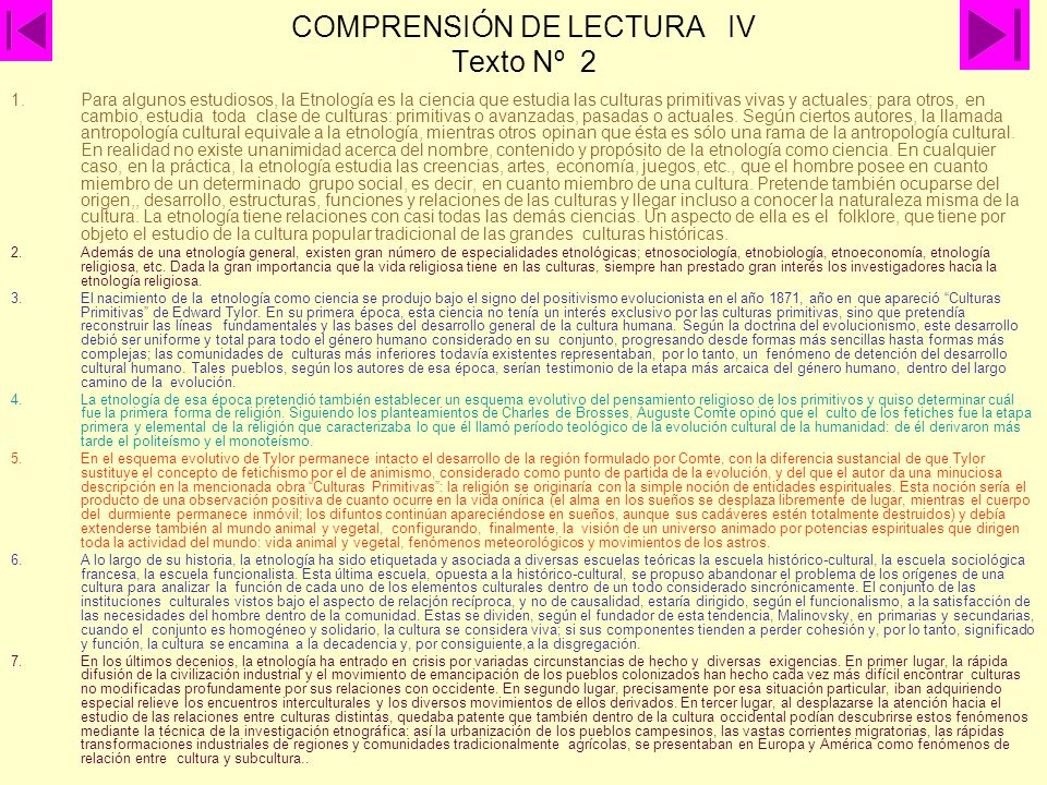 COMPRENSIÓN DE LECTURA IV Texto Nº 2