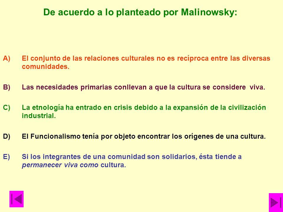 De acuerdo a lo planteado por Malinowsky:
