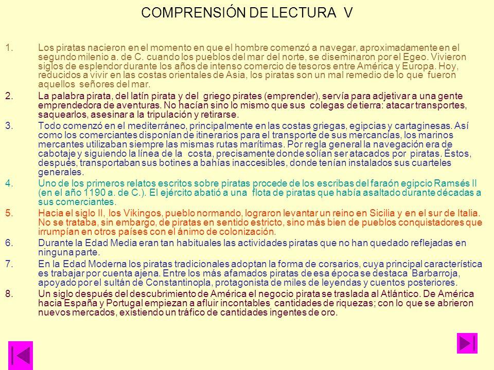 COMPRENSIÓN DE LECTURA V