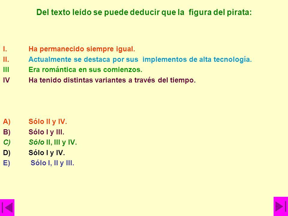 Del texto leído se puede deducir que la figura del pirata: