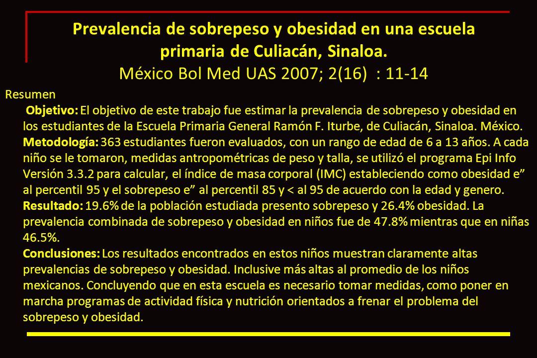 Prevalencia de sobrepeso y obesidad en una escuela primaria de Culiacán, Sinaloa. México Bol Med UAS 2007; 2(16) : 11-14