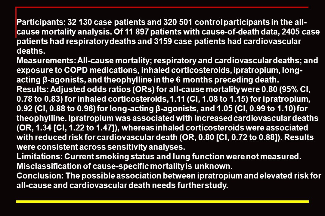 Participants: 32 130 case patients and 320 501 control participants in the all-cause mortality analysis. Of 11 897 patients with cause-of-death data, 2405 case patients had respiratory deaths and 3159 case patients had cardiovascular deaths.