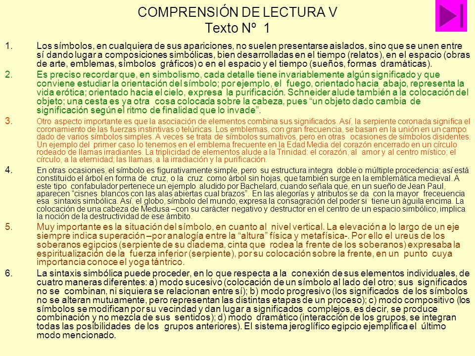 COMPRENSIÓN DE LECTURA V Texto Nº 1