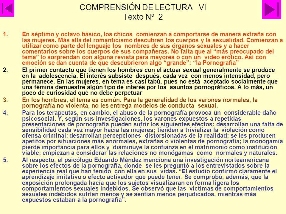 COMPRENSIÓN DE LECTURA VI Texto Nº 2