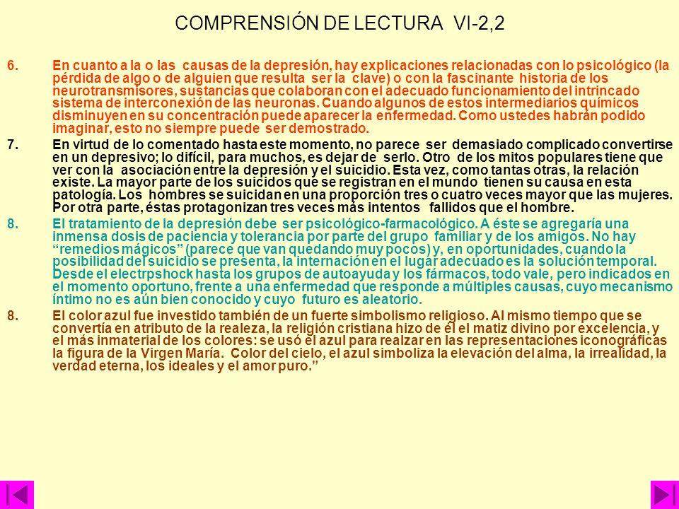 COMPRENSIÓN DE LECTURA VI-2,2