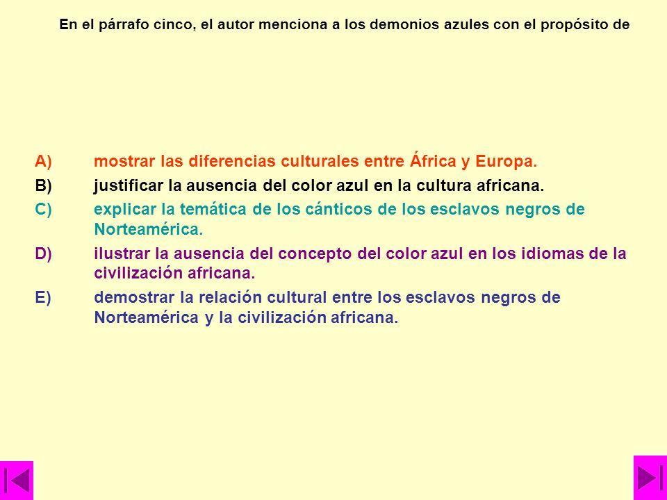 A) mostrar las diferencias culturales entre África y Europa.