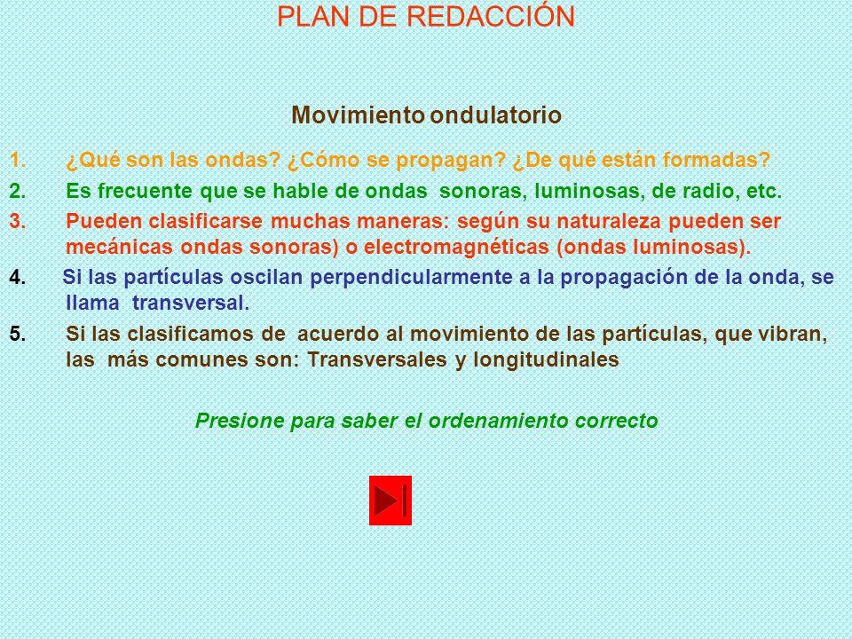 PLAN DE REDACCIÓN Movimiento ondulatorio