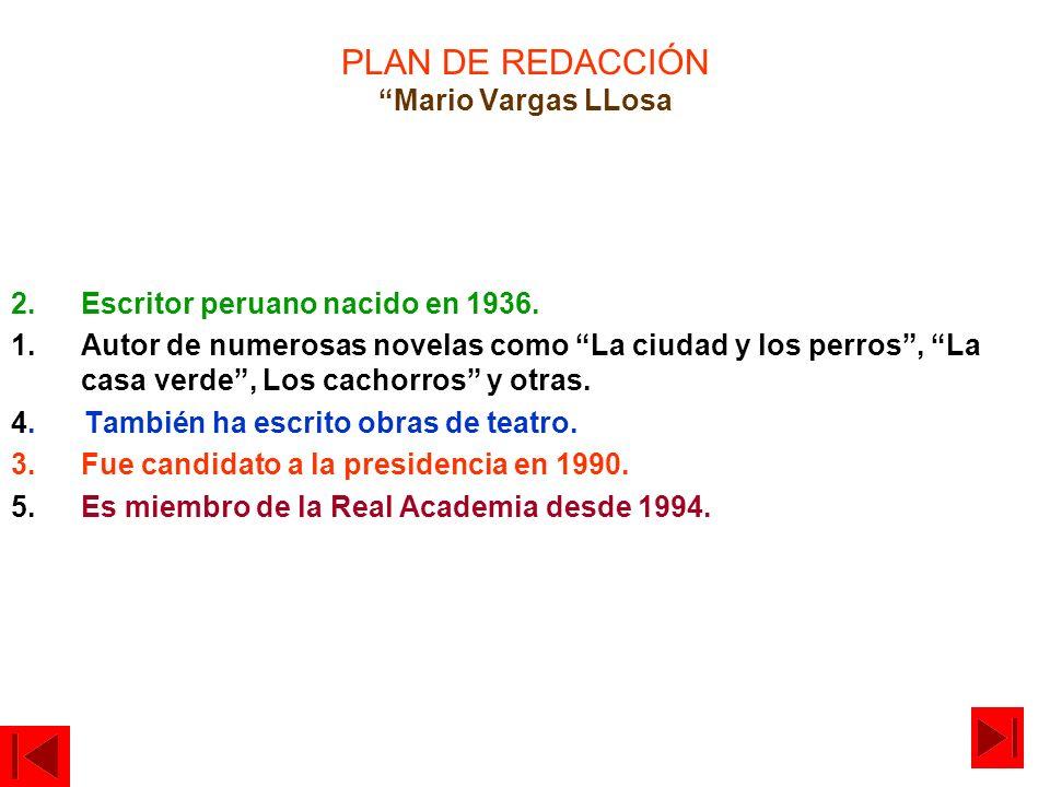 PLAN DE REDACCIÓN Mario Vargas LLosa
