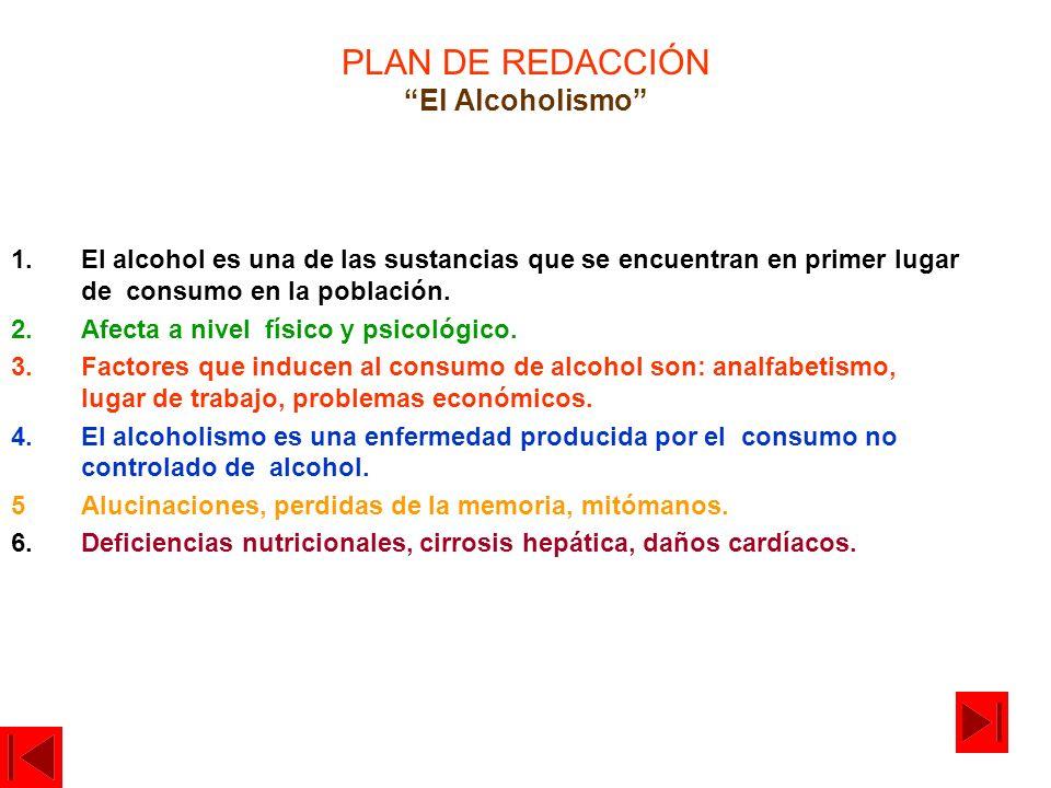 PLAN DE REDACCIÓN El Alcoholismo