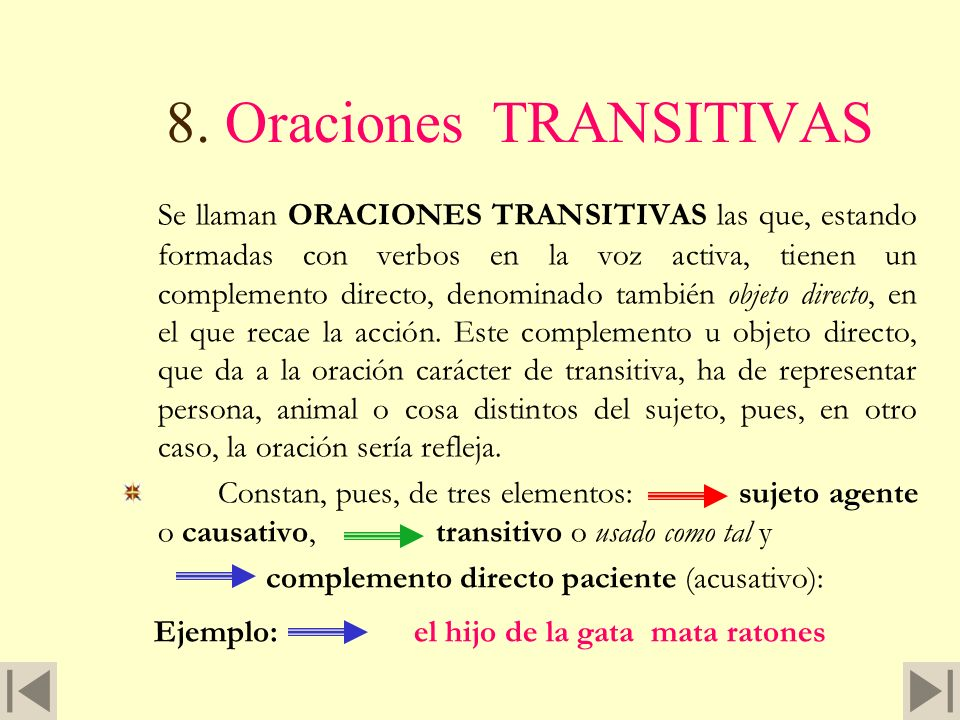 8. Oraciones TRANSITIVAS