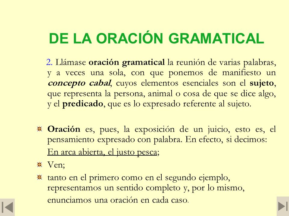 DE LA ORACIÓN GRAMATICAL