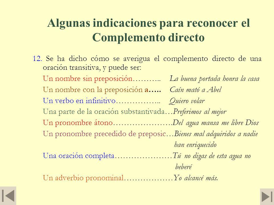 Algunas indicaciones para reconocer el Complemento directo