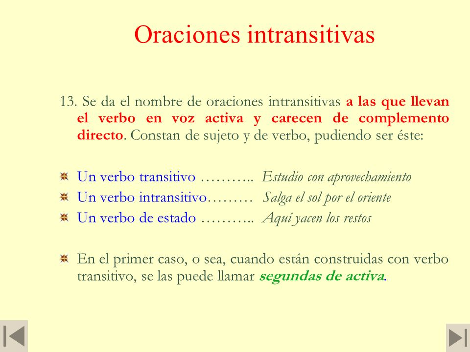 Oraciones intransitivas