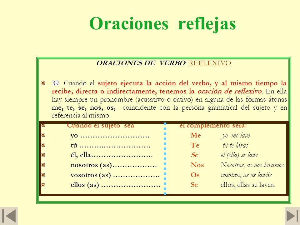 ORACIONES DE VERBO REFLEXIVO
