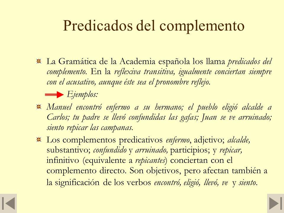 Predicados del complemento