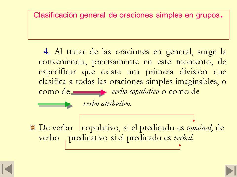 Clasificación general de oraciones simples en grupos.