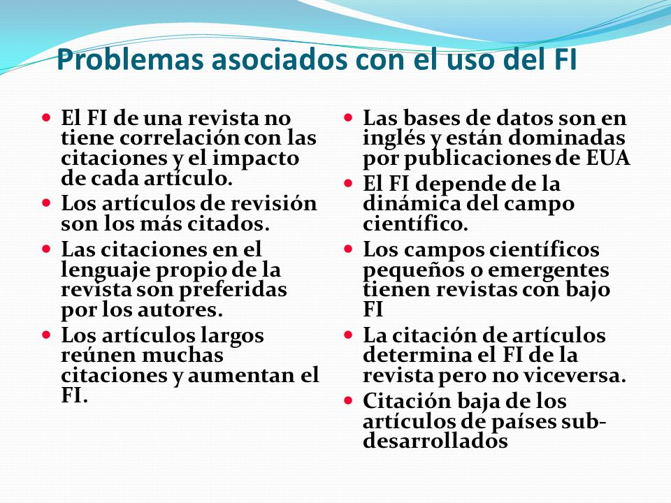 Problemas asociados con el uso del FI
