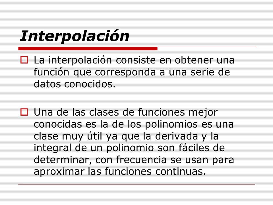Interpolación La interpolación consiste en obtener una función que corresponda a una serie de datos conocidos.