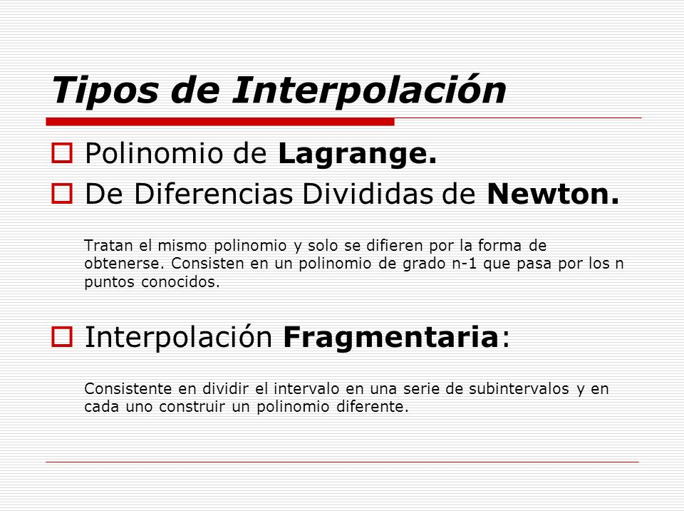 Tipos de Interpolación