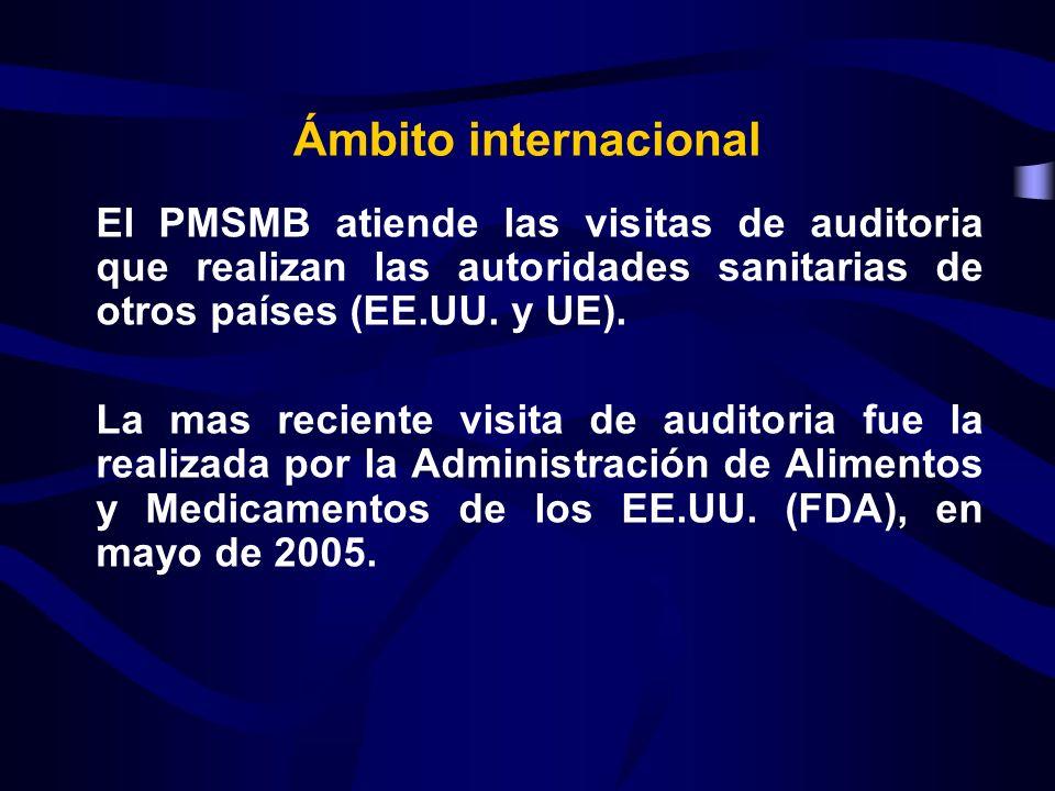 Ámbito internacional El PMSMB atiende las visitas de auditoria que realizan las autoridades sanitarias de otros países (EE.UU. y UE).