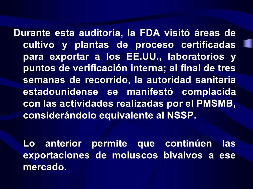 Durante esta auditoria, la FDA visitó áreas de cultivo y plantas de proceso certificadas para exportar a los EE.UU., laboratorios y puntos de verificación interna; al final de tres semanas de recorrido, la autoridad sanitaria estadounidense se manifestó complacida con las actividades realizadas por el PMSMB, considerándolo equivalente al NSSP.