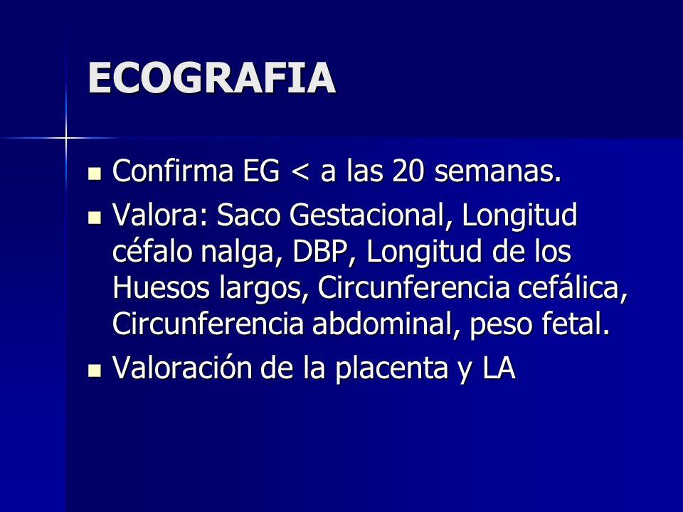 ECOGRAFIA Confirma EG < a las 20 semanas.
