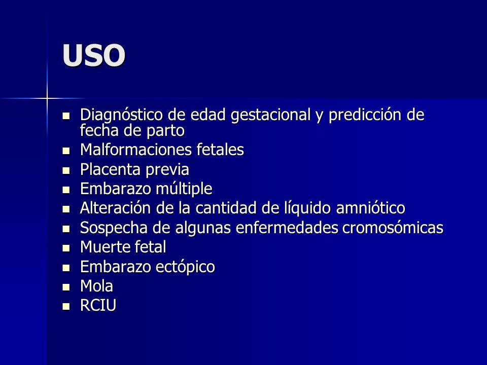 USO Diagnóstico de edad gestacional y predicción de fecha de parto